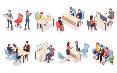 Recruitment agency workers in isometric view. HR workers recruit candidate or hire applicants. Job interview for vacant place. Man and woman having conversation with unemployment. Job search icon