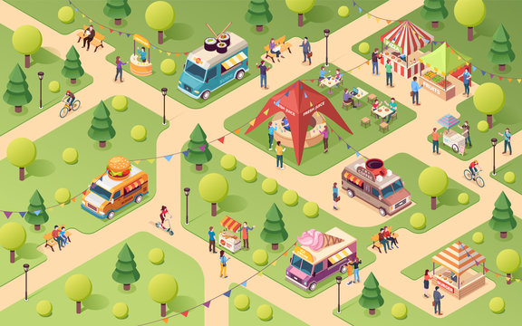 Summer park at street food festival. Van or truck with sushi and ice-cream, coffee and burger. Lemonade counter, juice tent, pizza and fruits stall, hot-dog snack.Vector isometric outdoor holiday sign
