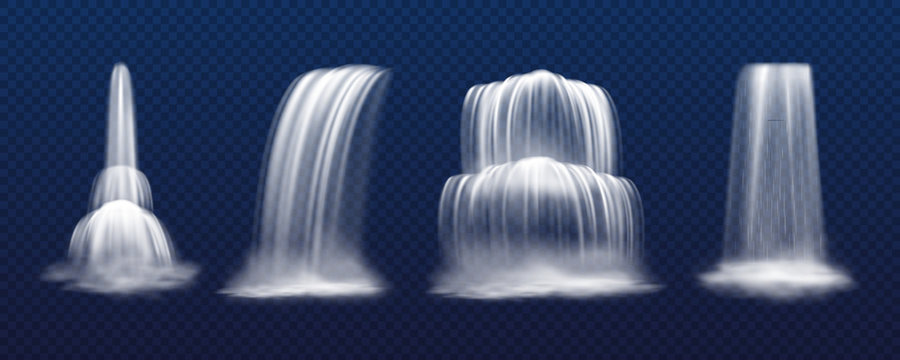 Set of isolated realistic vector cascade waterfall isolated on transparent background. Mountain fall of water, park stream or liquid drop. Victoria and niagara. Scenery and landscape, nature theme