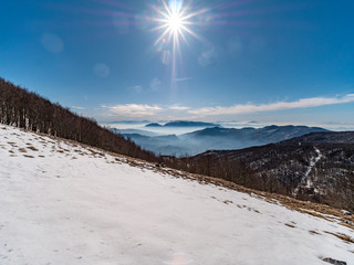 mountain range of the Campania Apennines with snow and mist seen from Matese mount.
