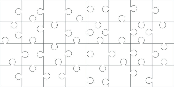 Puzzles grid. Jigsaw puzzle 32 pieces, thinking game.