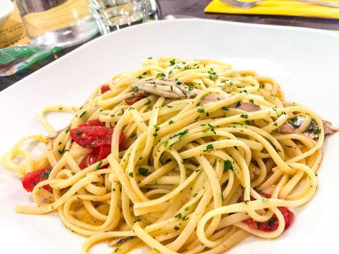 Pasta Spaghetti with Alici fresh cherry tomatoes