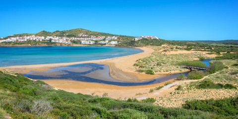 Wall Mural - Panorama of Cala Tirant beach in Menorca, Balearic islands, Spain