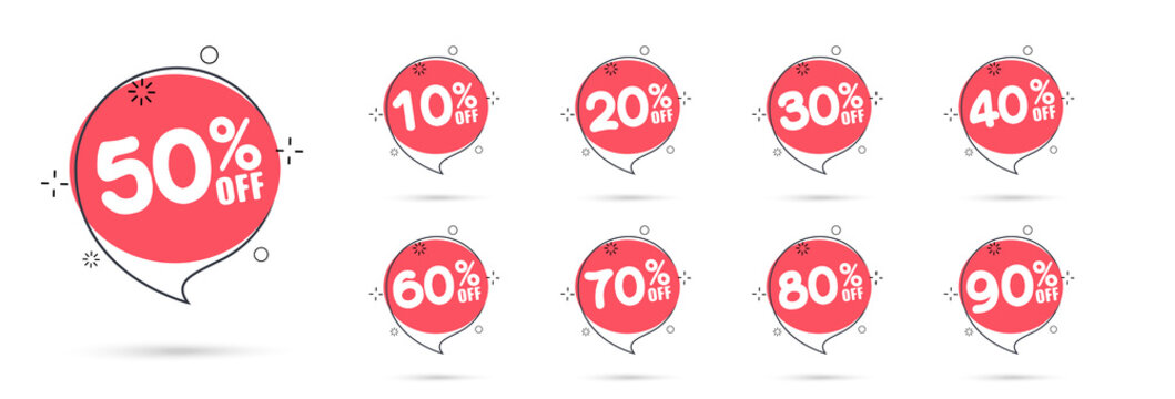 Sale tags set vector badges template, 10 off, 20 %, 90, 80, 30, 40, 50, 60, 70 percent sale label symbols, discount promotion flat icon with long shadow.