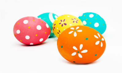 Perfect colorful handmade painted easter eggs isolated