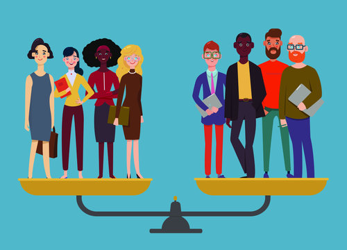 Businessmen and businesswomen stand on weighing machine and are even, gender equality concept, men and women are equal. Workplace diversity. Modern flat vector illustration.