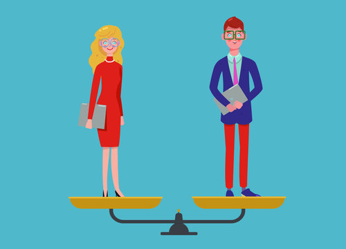 Man and woman are equal, business gender equality concept, equality of the sexes. Gender and pay equality on the office workplace. Modern flat vector illustration.