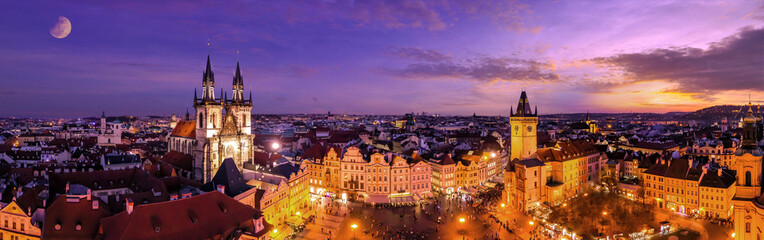 Fototapeten Prag Aerial Panoramic View of The Old Town Square at night in Prague, Czech Republic