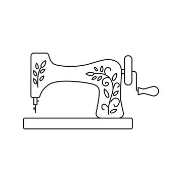 Old sewing machine vector icon line style