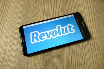 KONSKIE, POLAND - November 19, 2019: Revolut Ltd logo on mobile phone