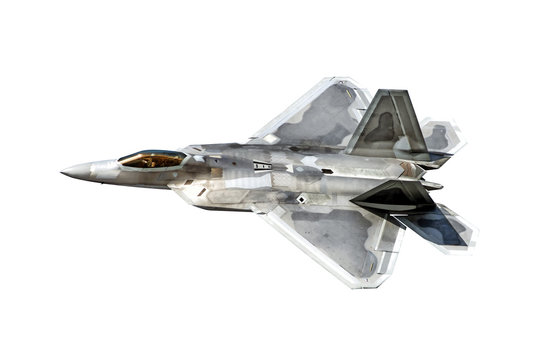 modern military fighter jet aircraft isolated on white background. Aerial top down side view of stealth airplane of air force in flight. Reference of warplane for design