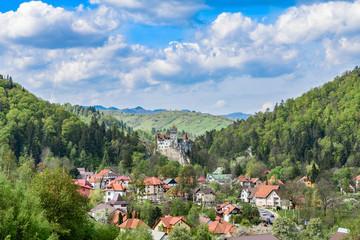 Wall Mural - Landscape with Bran castle in spring season, Brasov landmark, Transylvania, Romania