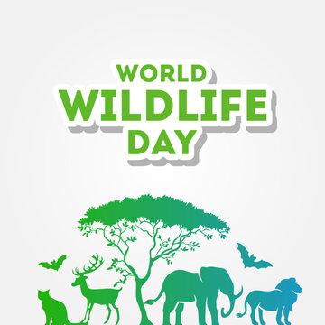 World Wildlife Day Vector Design For Banner or Background