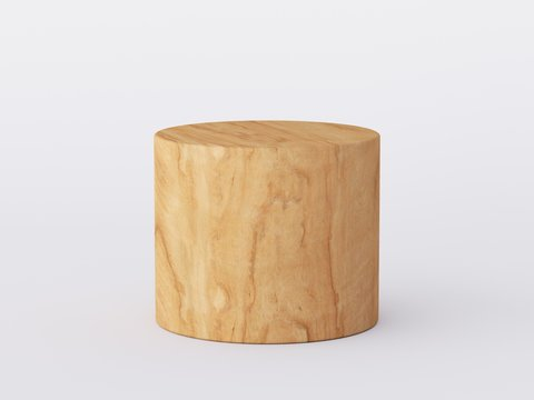 Yellow wood podium isolated in white clean space. Product Presentation background. 3d rendering - illustration.