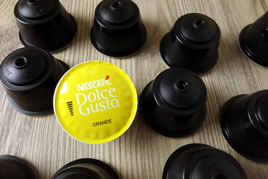 KONSKIE, POLAND - November 11, 2019: Nescafe Dolce Gusto coffee capsules on table