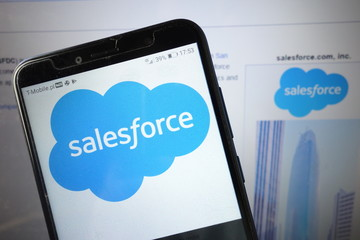 KONSKIE, POLAND - August 18, 2019: Salesforce company logo on mobile phone