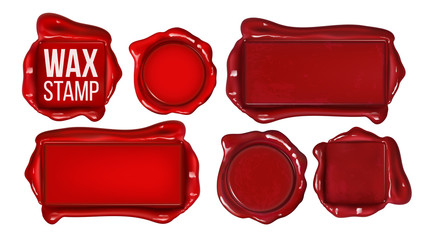 Collection Of Red Wax Stamp Set Copy Space Vector. Different Form Vintage Old Wax Seal For Postal Message Mail Letter Or Original Guarantee Of Sertificate Document. Realistic 3d Illustration
