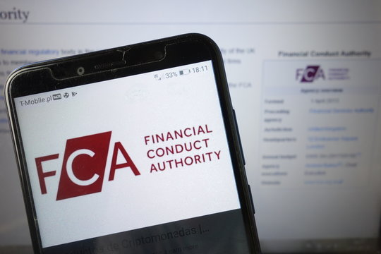 KONSKIE, POLAND - August 18, 2019: FCA Financial Conduct Authority logo on mobile phone