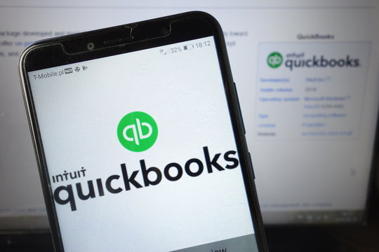 KONSKIE, POLAND - August 18, 2019: Intuit Quickbooks logo on mobile phone