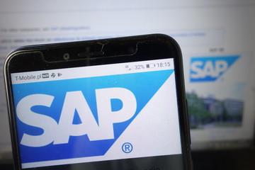 KONSKIE, POLAND - August 18, 2019: Sap Se company logo on mobile phone
