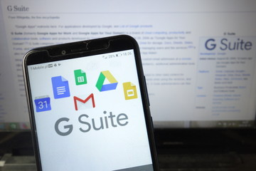 KONSKIE, POLAND - August 18, 2019: G Suite logo on mobile phone