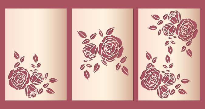 Laser cut wedding invitation cover design set with pattern of roses. Greeting birthday card template for cutting, vector.