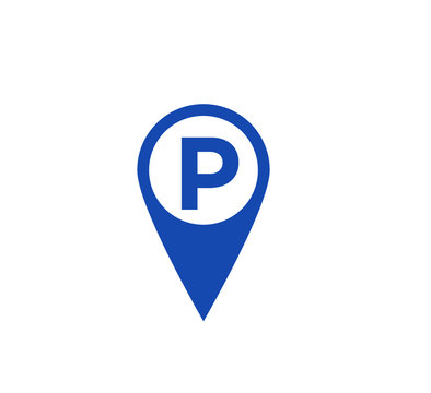 Parking sign icon flat style