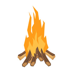 A campfire picture on a white background