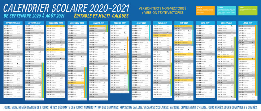 Calendrier scolaire 2020 - 2021. Fichier éditable et multi-calques