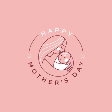 Vector abstract logo design template and illustration in simple linear style - happy mother's day greeting card