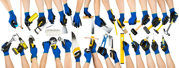 huge set collection of people hands holding up hand tools isolated on white background diy indrustry manufacturing concept