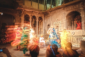 Wall Murals Kuala Lumpur Udaipur, Rajasthan / India »; August 2016: Traditional Dancers Lights at night in the city of Udaipur
