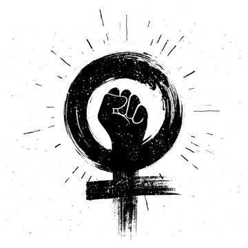 Vector illustration women resist symbol. Raised fist icon. Female gender and  feminism logo design.