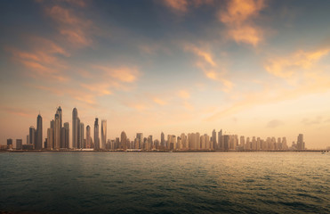 Fotomurales - skyscrapers in Dubai Marina, sunset time, UAE