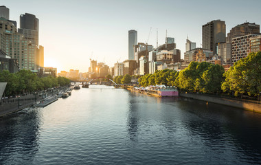 sunset, Yarra River, Melbourne, Victoria, Australia Wall mural