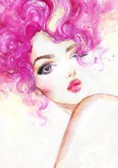 beautiful woman. fashion illustration. watercolor painting