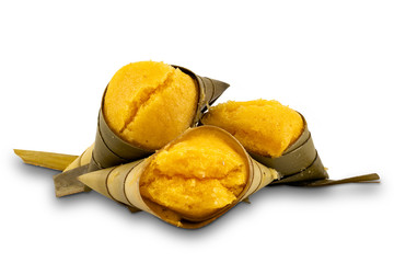 Fototapete - Thai style dessert Toddy Palm Cakes (Kanom Tarn) on white background with clipping path.