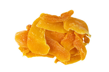 Fototapete - Top view of pile of slice dehydrated mango on white background with clipping path.