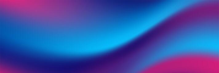 Fotobehang - Blue purple neon smooth liquid waves abstract background. Vector banner design