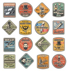 Barbershop retro labels of man hair cut, beard and mustache shaving vector design. Barber shop pole, chair, straight razor and blade, hairdresser scissors, comb and brush, grooming trimmer and clipper