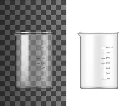 Glass beaker lab glassware 3d vector design of chemistry and science equipment. Chemical laboratory measuring container, flask or test tube with spout and measuring scale markup. Research themes