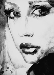 Vintage era portrait of a pin up in black and white, painting in abstract watercolor pop art and coffee splash