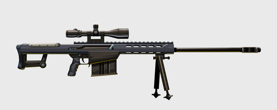 side view modern sniper rifle