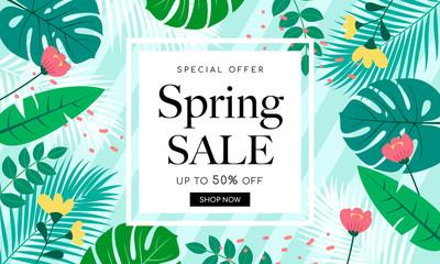 Spring Sale Background Banner Vector illustration. Beautiful flower forest frame on green striped