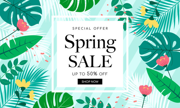 Spring Sale Background Banner Vector illustration. Beautiful flower forest frame on green striped