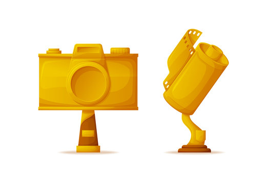 Trophies in camera and film shapes, media award vector. Photo and video gold prize or reward, creative arts, best photography and movie isolated objects