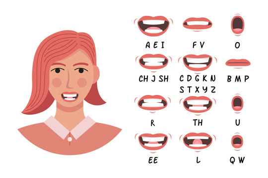 Lip sync collection for animation and education. Cartoon character mouth and lips sync for sound pronunciation. Learning English alpabet vector illustration.