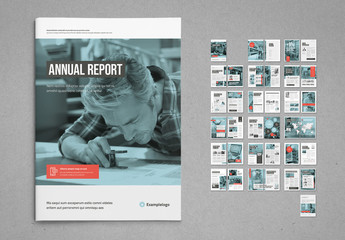 White and Pale Blue with Coral Accents Annual Report Layout