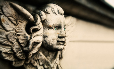 Fototapete - angel. Vintage styled image of ancient statue. Free copy space