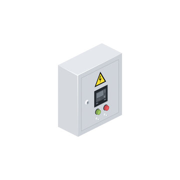 Electrical panel cabinet appliance. Vector 3d isometric, color web icon, new flat style. Creative illustration design, idea for infographics.